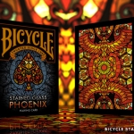 BICYCLE STAINED GLASS PHOENIX Playing Cards. The fire bird forged in glass