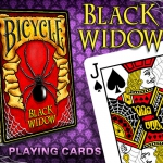 The white Bicycle deck of the Black Widow