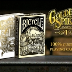 Golden Spike Playing Cards. Two decks in the same train