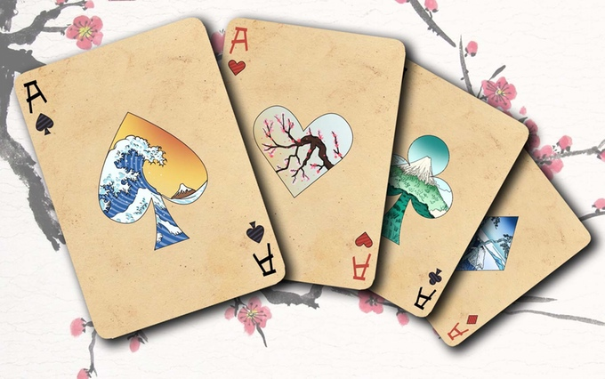 JAPANESE SCROLLS Playing Cards  Color and tradition of the